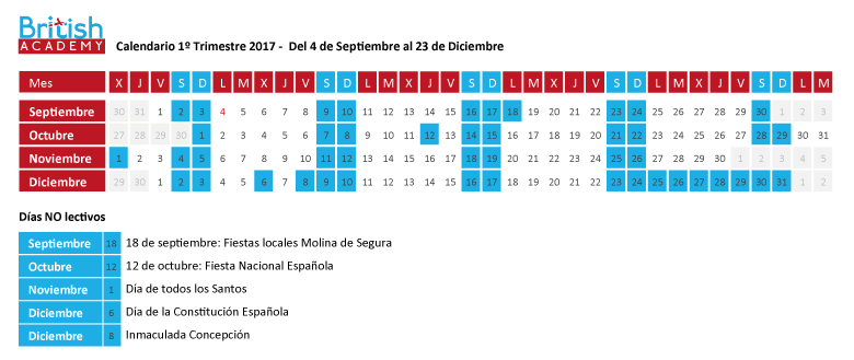 Calendario lectivo en British Academy